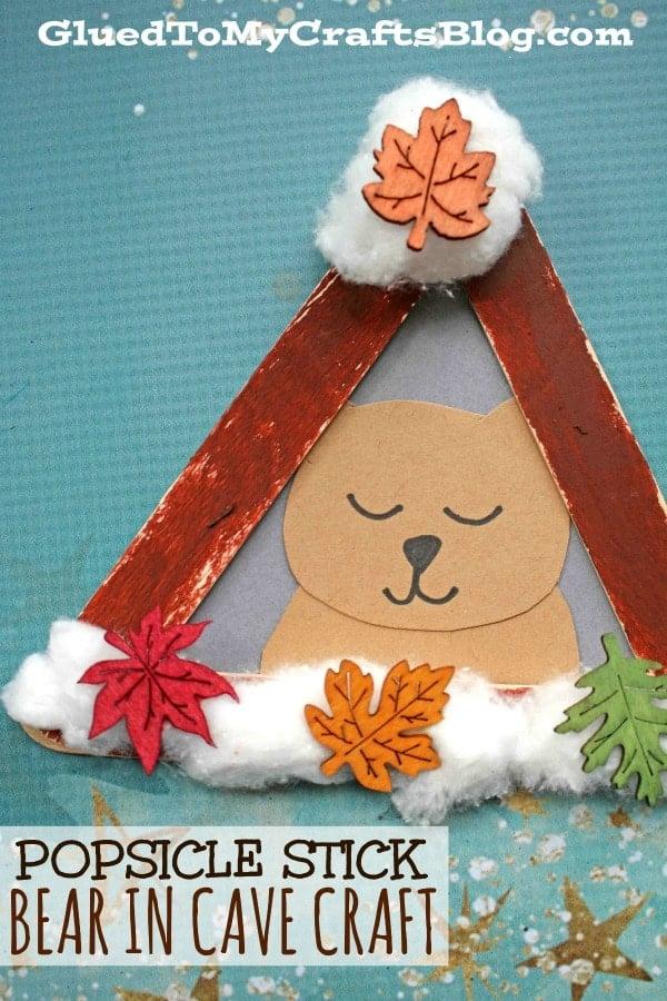Popsicle Stick Hibernating Bear - Kid Craft Idea For Winter