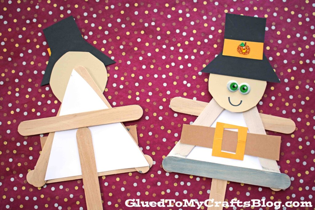 Popsicle Stick Pilgrim Puppet - Kid Craft