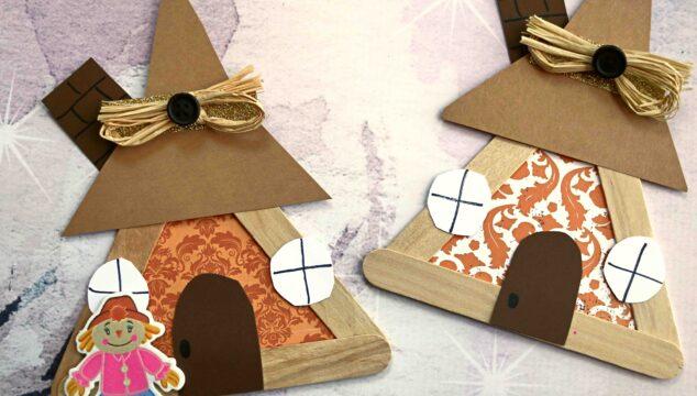 Popsicle Stick Scarecrow House - Kid Craft Idea
