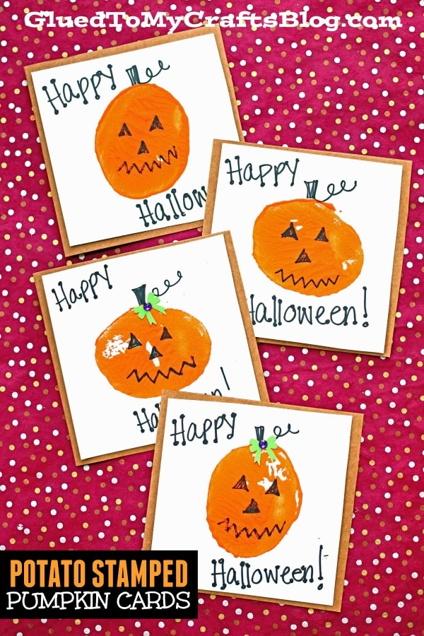 Potato Stamped Pumpkin Cards