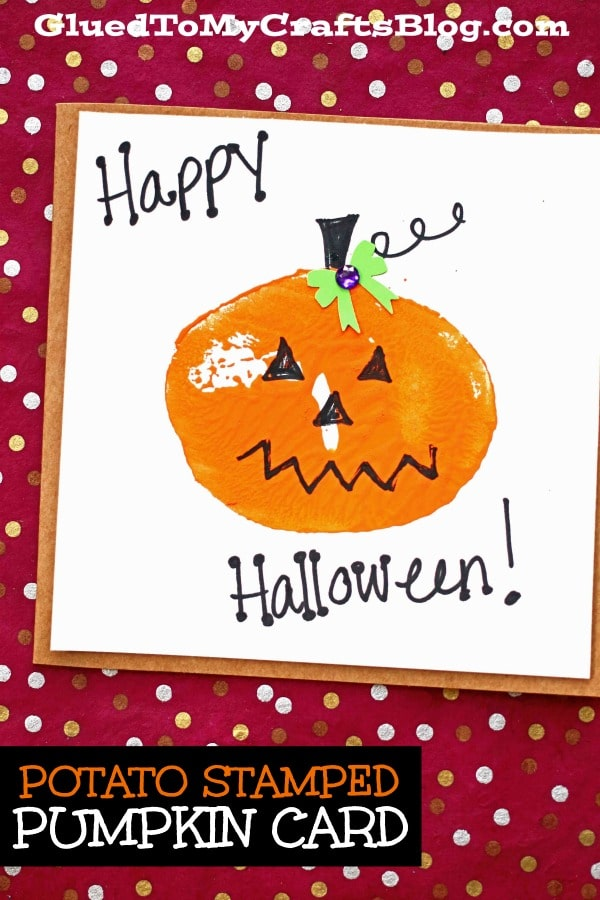 Potato Stamped Pumpkin Cards For Kids To Make This Fall!