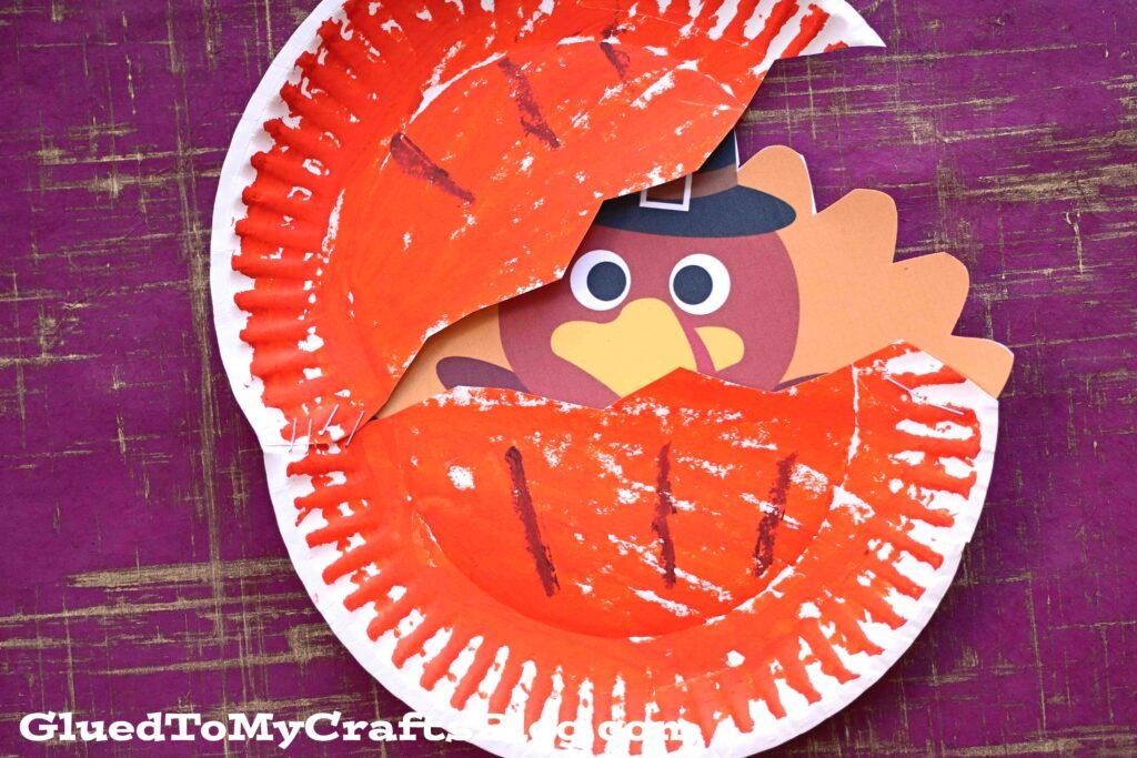 Paper Plate Turkey Hiding In A Pumpkin - Kid Craft