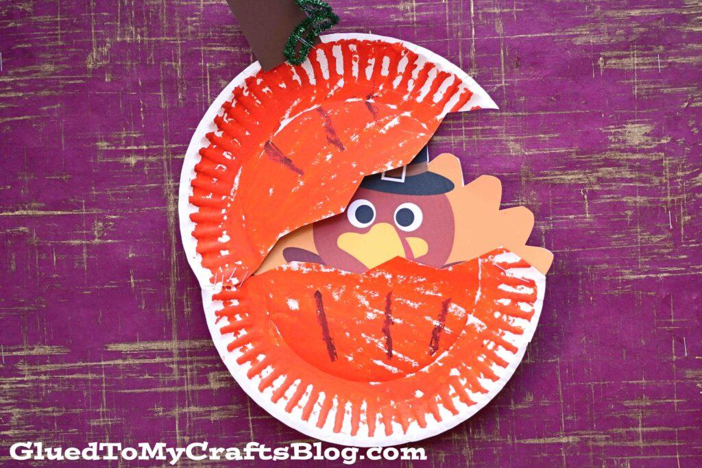Paper Plate Turkey Hiding In Pumpkin - Kid Craft