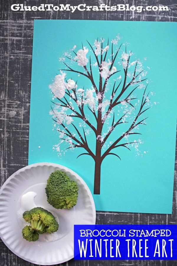 Broccoli Stamped Winter Tree On Paper - Kid Craft