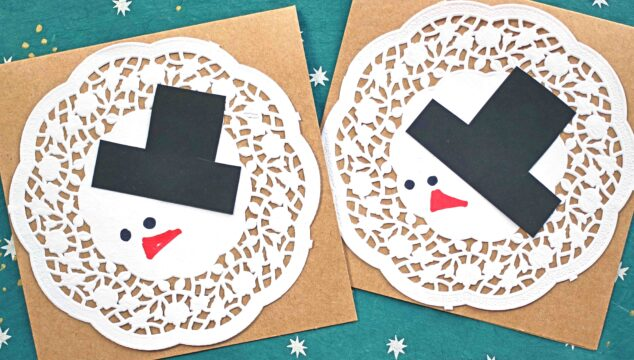 DIY Paper Doily Melted Snowman Card