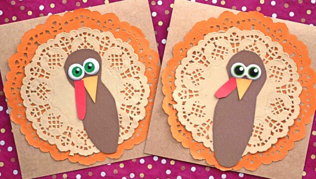 Paper Doily Turkey Cards - Thanksgiving Craft