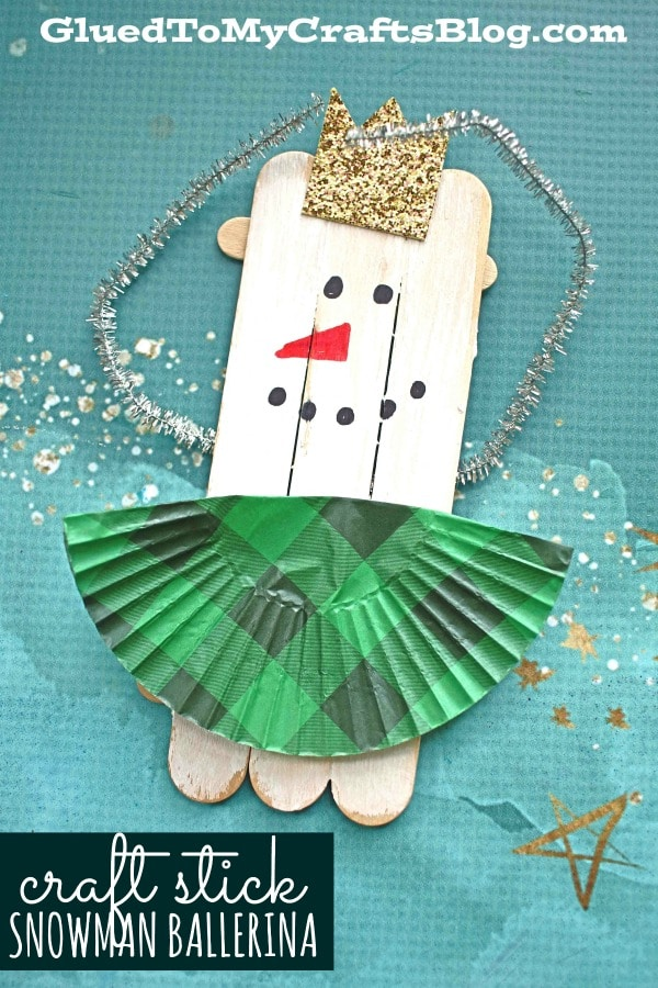 Craft Stick Snowman Ballerina Puppets - Kid Craft Idea