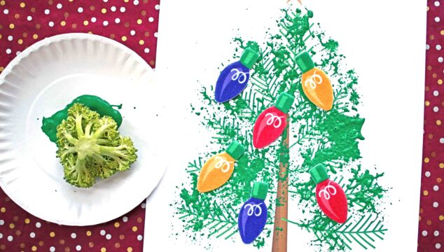 Broccoli Stamped Christmas Tree - Holiday Kid Craft