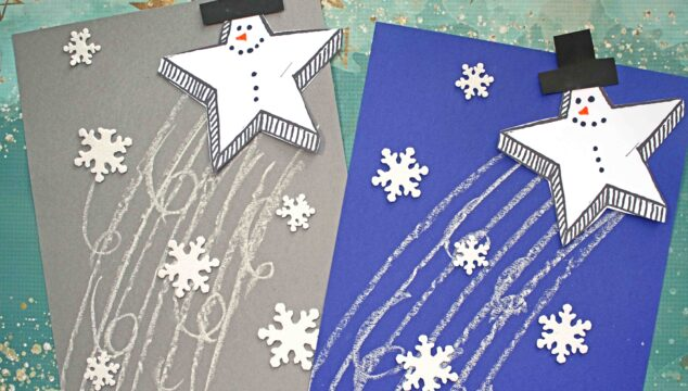 Paper & Chalk Snowman Shooting Star Kids Craft