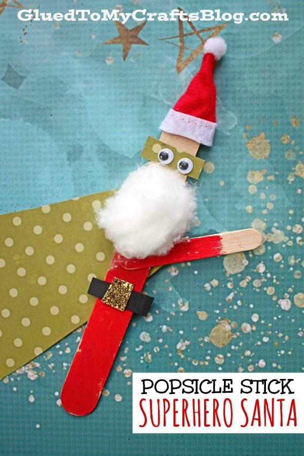 Popsicle Stick Superhero Santa Puppet - Christmas Kid Craft Idea