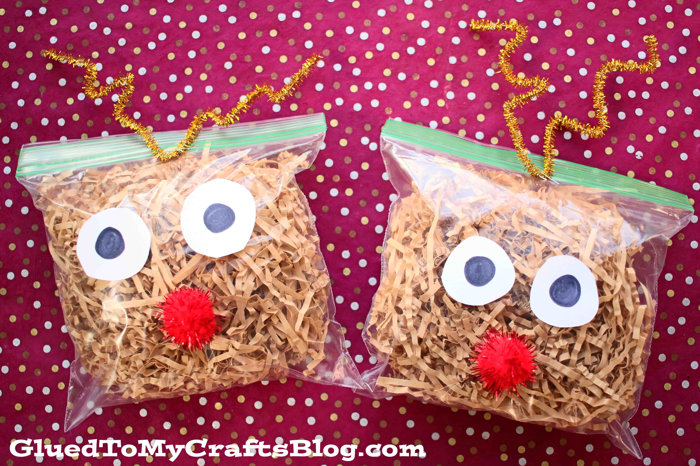 Plastic Baggie & Crinkle Paper Reindeer - Kid Craft