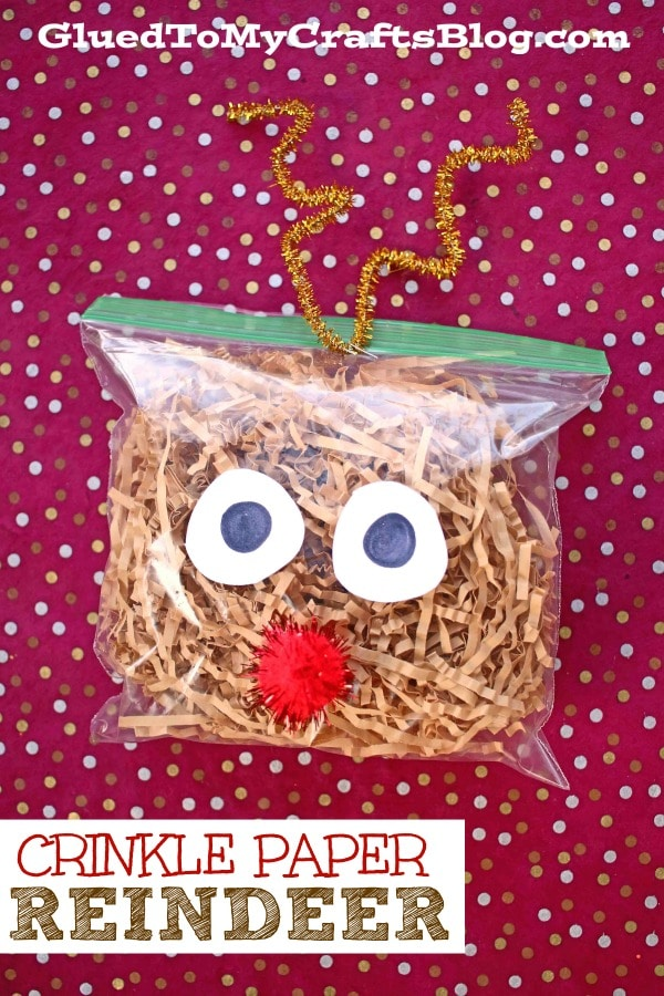 Crinkle Paper Reindeer - Christmas Kid Craft Idea