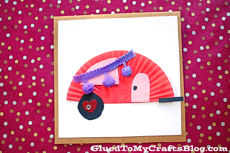 Cupcake Liner Valentine Camper Card Craft