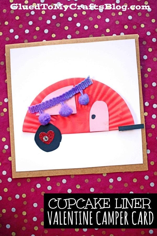 Paper & Cupcake Liner Valentine Camper Card Craft