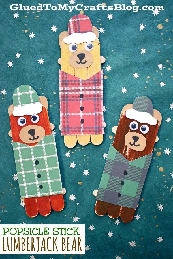 Popsicle Stick Lumberjack Bear - Kid Craft