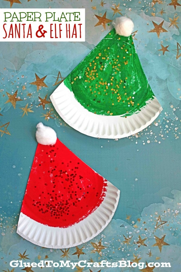 SUPER EASY Paper Plate Santa & Elf Hat Craft Idea