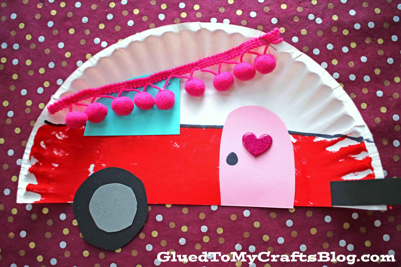 Paper Plate Valentine Camper - Kid Craft
