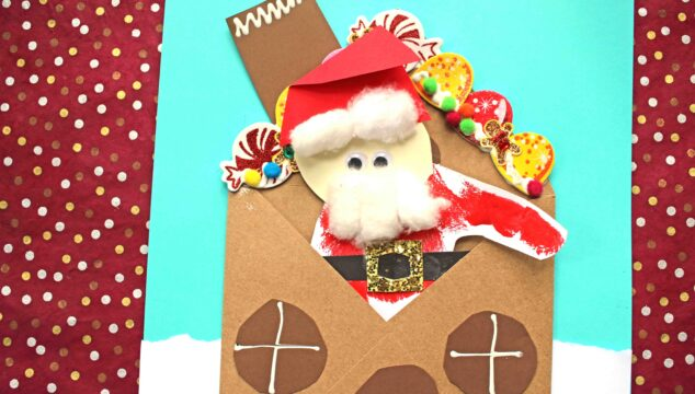 Paper Santa's Gingerbread House - Kid Craft Idea