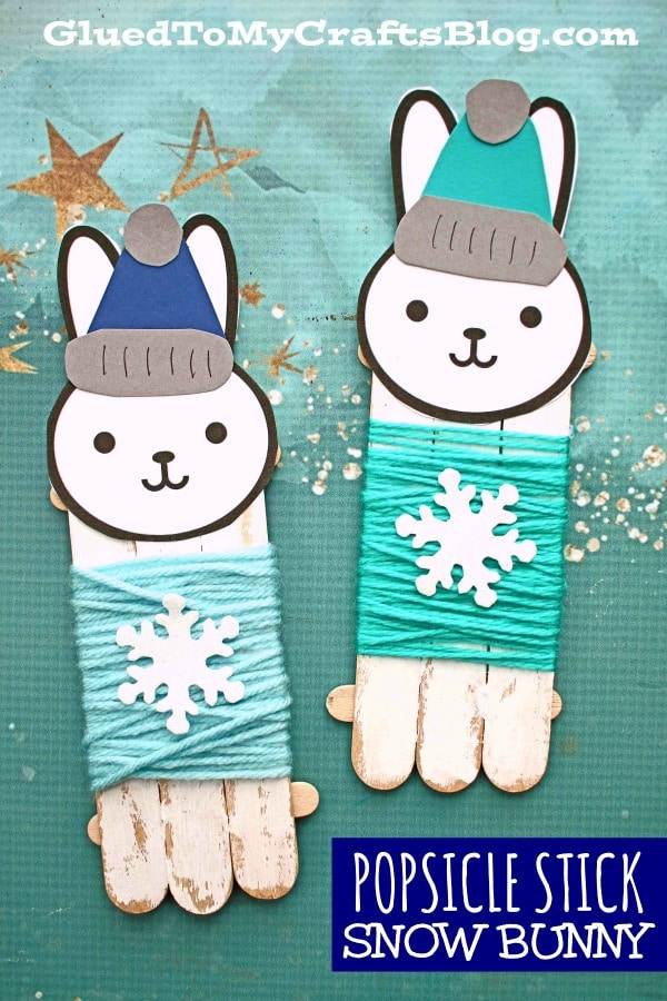 Winter Craft For Kids - Popsicle Stick Snow Bunny