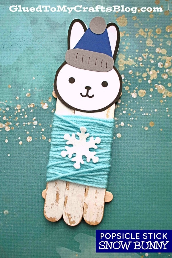 Winter Craft For Kids - Craft Stick Snow Bunny In Sweater
