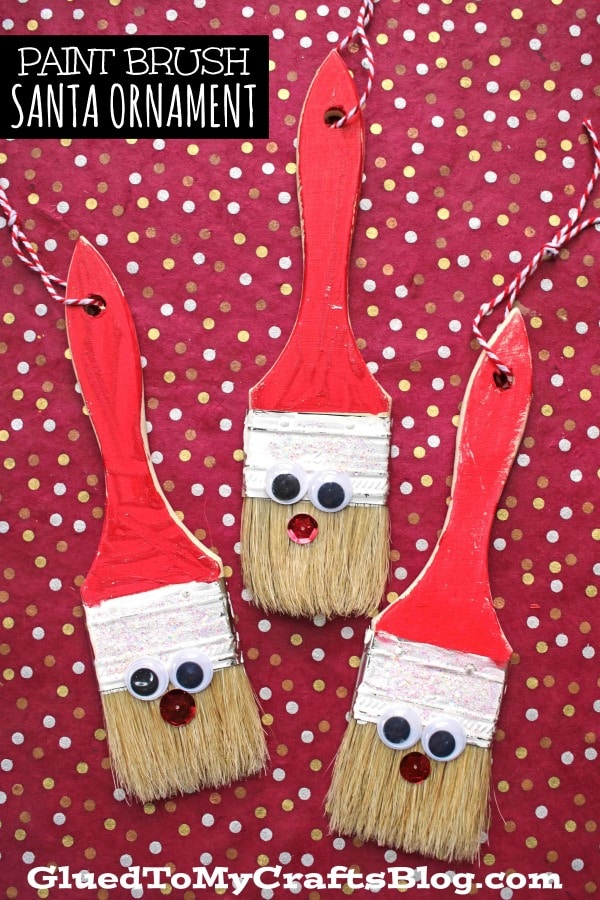 DIY Paint Brush Santa Ornament Craft Idea