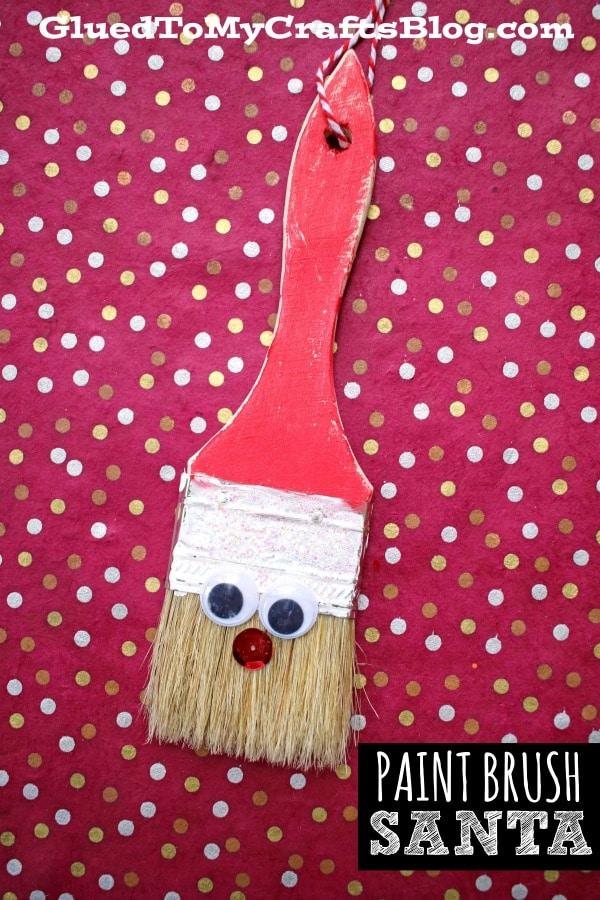 DIY Paint Brush Santa Ornament Craft Idea