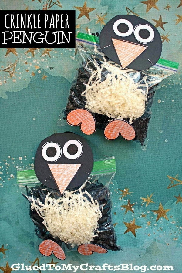 Crinkle Paper and Baggie Penguin - Kid Craft Idea For Winter
