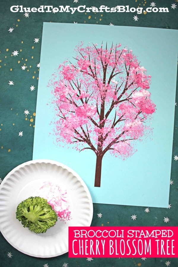 Broccoli Stamped Cherry Blossom Tree - Kid Craft