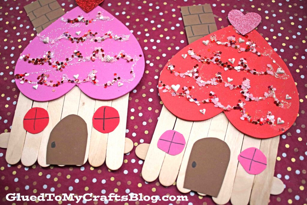 Popsicle Stick Valentine Gingerbread House - Kid Craft