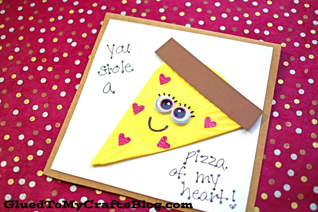 Paper Cheese Pizza Card Idea For Kids To Make For Valentine's Day
