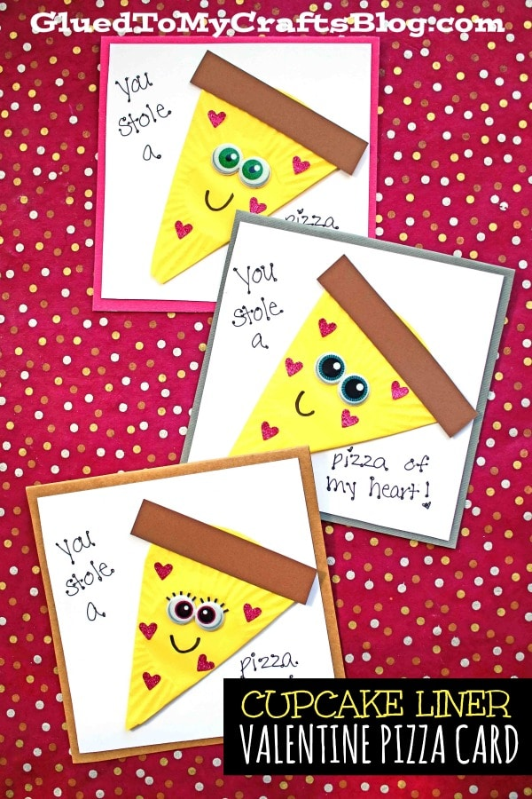 DIY Cupcake Liner Valentine Pizza Card Tutorial