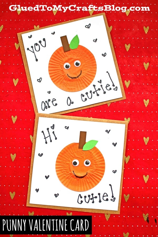 Punny Cupcake Liner Orange Cutie Card For Valentine's Day