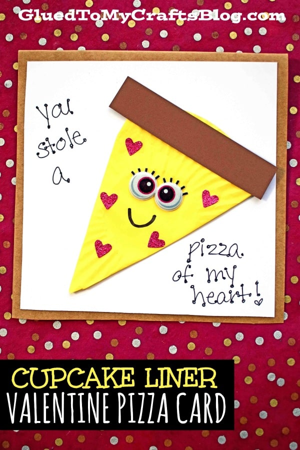 Handmade Cupcake Liner Cheese Valentine Pizza Card Tutorial For Kids To Make