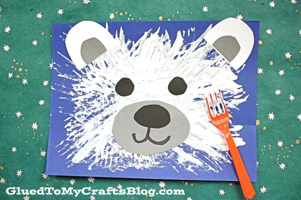 Fork Painted Polar Bear - Kid Craft