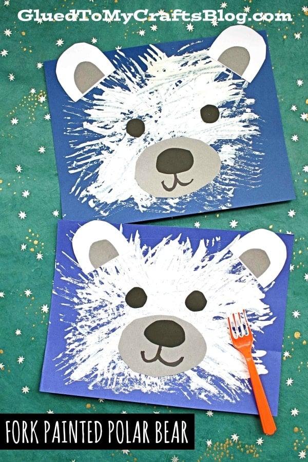 Fork Painted Polar Bear - Kid Craft