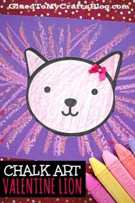 Paper & Chalk Valentine Lion Art Project For Kids