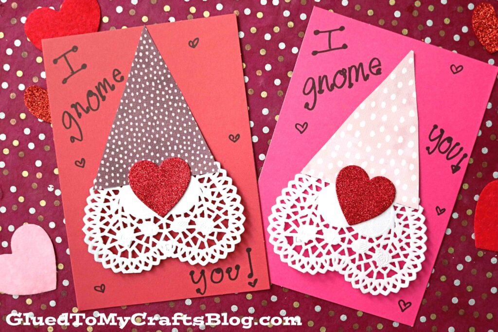 Paper Heart Doily Gnome Valentines - Kid Craft Idea