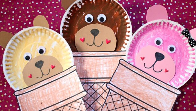 Plate Plate Ice Cream Cone Bear - Kid Craft
