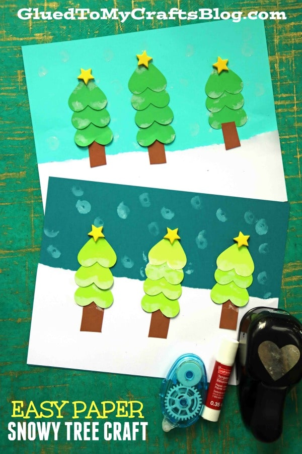 Super Easy Paper Winter Tree Landscape - Kid Craft