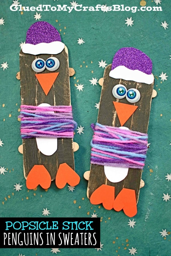 Popsicle Stick Penguins In Sweaters - Kid Craft