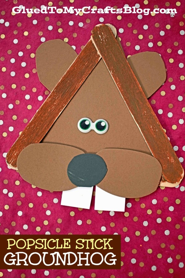 Popsicle Stick Groundhog - Kid Craft Idea