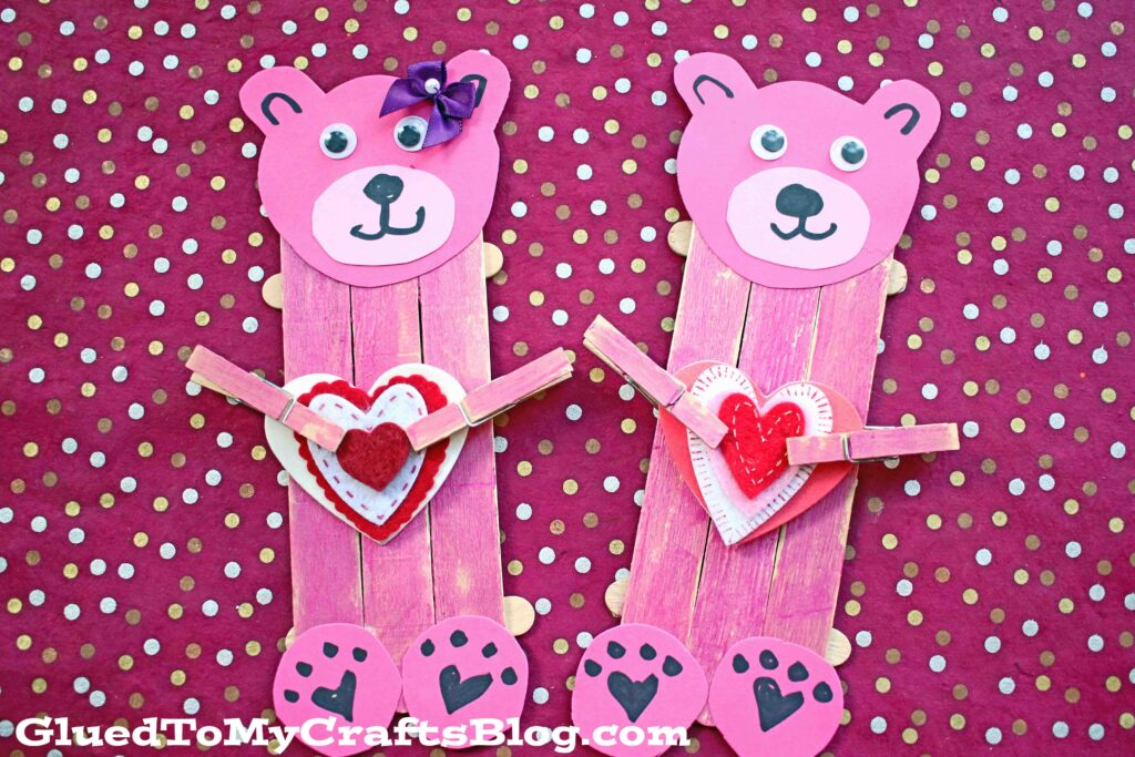 Popsicle Stick Valentine Bear - Kid Craft