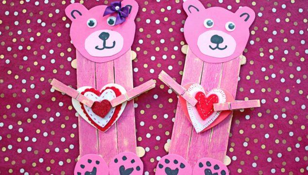 Popsicle Stick Valentine Bear - Kid Craft