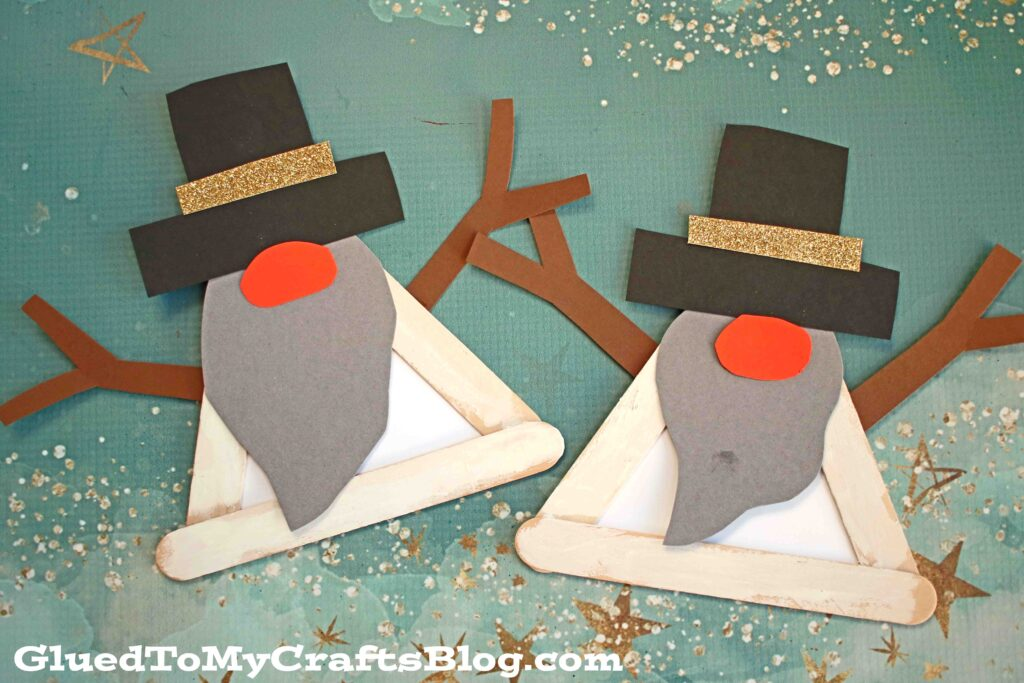 Popsicle Stick Snowman Gnome Craft For Kids To Make!