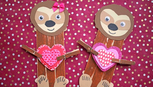 Popsicle Stick Valentine Sloth - Kid Craft