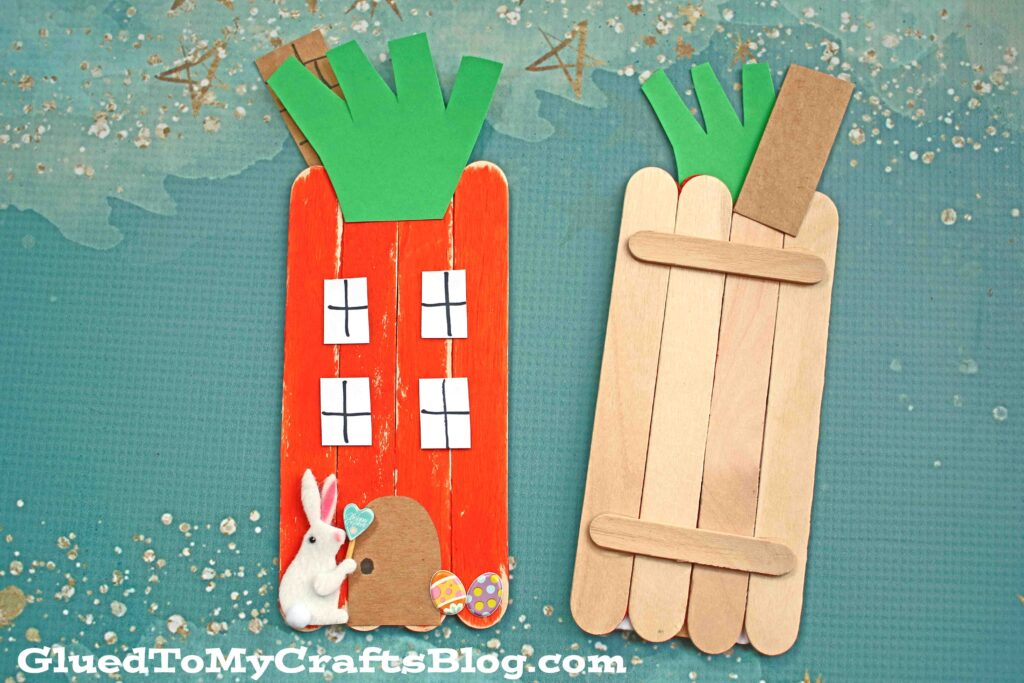 Popsicle Stick Carrot House - Kid Craft