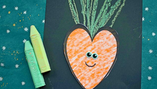Paper & Chalk Art Carrot - Spring Kids Craft Idea