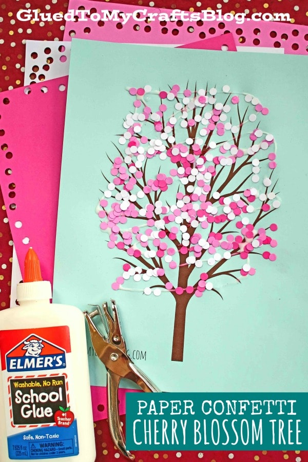 Paper Punch Confetti Cherry Blossom Tree - Kid Craft