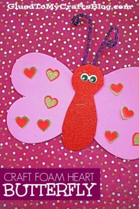 Craft Foam Heart Butterfly Craft For Valentine's Day