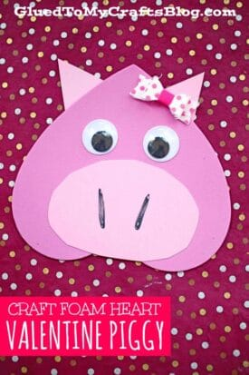 Craft Foam Heart Valentine Piggy Craft Idea